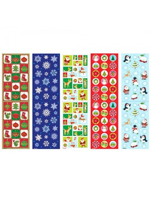 "Amscan Christmas Paper Sticker Big Pack, 350 Stickers of Fun, 10 1/4"" by 3"", Multicolor"