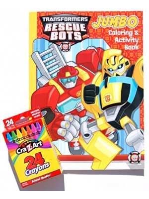 Transformers Rescue Bots Jumbo Coloring and Activity Book with a Box of Crayons