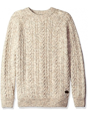 Scotch & Soda Men's Crewneck Pullover with Cable Pattern in Wool Quality