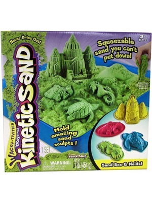Kinetic Sand Sand Box & Molds Activity Set, Green