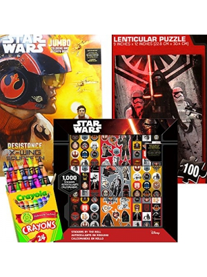 Star Wars 4 in 1 Value Set with Coloring Book, Crayons, 1000 Stickers and Lenticular Puzzle