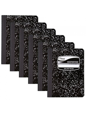 6 PACK-Of Mead Square Deal Composition Book, 100-Count, College Ruled, Black Marble (09932) 6 pack