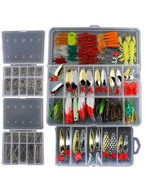 Smartonly1 Set 226Pcs Fishing Lure Tackle Kit Bionic Bass Trout Salmon Pike Fishing Lure Frog Minnow Popper Pencil Crank Soft Hard Bait Fishing Lure Metal Spoon Jig Lure with Fishing Tackle Box