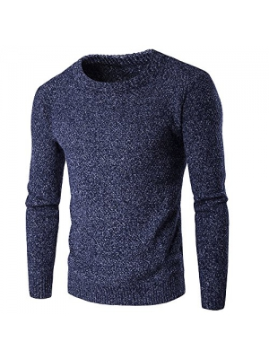Miuk Men's Knitted Sweaters Crewneck Basic Thick Winter Warm Pulloevers