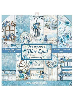 "Stamperia Double-sided Paper Pad 12""x12"" 10/pkg-blue Land, 10 Designs/1 Each"
