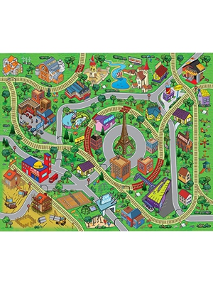 "Large ""Cityscape"" Play Mat with Train Tracks, Buildings, and Roads for Cars, Trucks, and Trains"