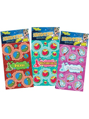 Dr. Stinky's Scratch N Sniff Stickers 3-Pack- Watermelon, Toothpaste, Pickle 81 Stickers