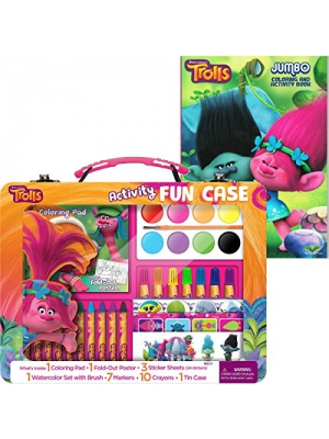 Dreamworks Trolls Activity Fun Tin Case with Trolls Coloring and Activity Book Bundle