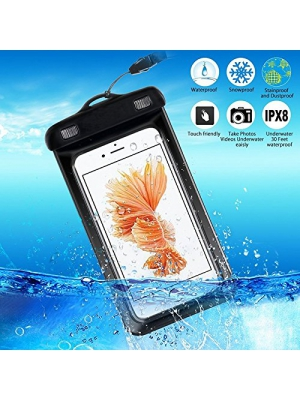 "2 Pack Waterproof Case,Waterproof Bag,Best Dry Bag for Apple iPhone 6s, 6 Plus, Samsung Galaxy S6/S6 Edge,S7 Edge, Dust Snowproof Pouch,for Smartphone Pouch Fits Screens Up to 7"" Diagonal(Black)"
