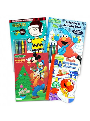 Sesame Street Christmas Coloring Book Super Set (4 Jumbo Christmas Coloring Books Featuring Elmo, Cookie Monster, Big Bird and More!)