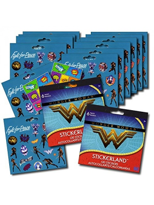 WONDER WOMAN Stickers Party Favors - Bundle of 12 Sheets 240+ Stickers plus 2 Specialty Stickers!