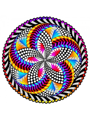 'Spin Me' Fuzzy Velvet Mandala - 20x20 Inches - Coloring Poster