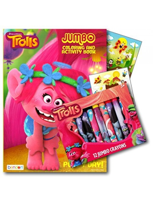 Trolls Coloring Book and Crayons Bundled with 2 Specialty Separately Licensed GWW Reward Stickers