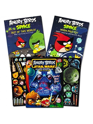 Angry Birds Coloring Book Super Set with 60 Angry Birds Stickers -- 3 Jumbo Books (Angry Birds Star Wars, Bad Piggies)