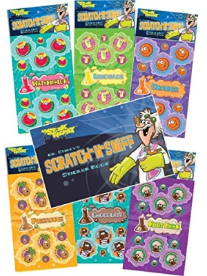 Dr. Stinky's Scratch N Sniff Stickers 6-pack and Sticker Book Gift Set- Chocolate, Rootbeer, Pineapple, Orange, Watermelon, Lemonade 162 Stickers