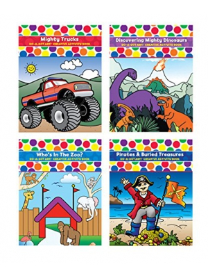 Do A Dot Art Coloring Book Bundle 4 Pack Coloring Books for Kids Mighty Trucks, Discovering Mighty Dinosaurs, Who's in the Zoo, and Pirates & Buried Treasures Best Value