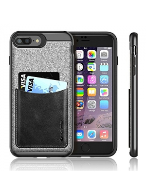 iPhone 7 Plus Case,iVAPO iPhone 7 Plus Cover [Poker Series] Genuine Leather Pocket iPhone Cases for iPhone 7 Plus 5.5inch Phone Case [Black]