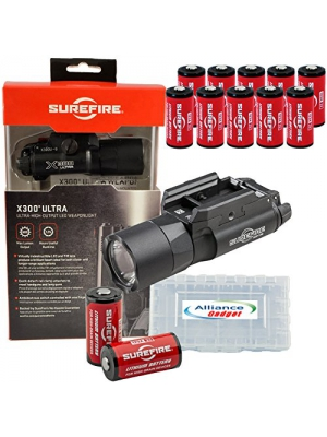 SureFire X300 Ultra X300U-B High Output 600 Lumen LED WeaponLight Black with 12 extra CR123A Batteries and 3 Alliance Gadget Battery Cases