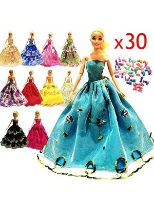 Zhihu 30 =10 Pcs Barbie Handmade Fashion Wedding Party Gown Dresses & Clothes gifts for Barbie+20 Pair Shoes for Barbie Doll( Random Style)