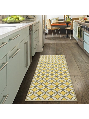 "Ottomanson Studio Collection Star Trellis Design Runner Rug, 20"" X 59"", Yellow"