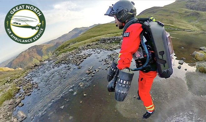 British rescuers are testing powerful jetpacks to help victims in the mountains