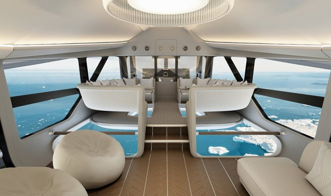 The interior of the luxury new tourist airship