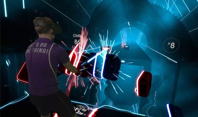 The game Beat Saber will allow to wave much with a Jedi sword in virtual reality