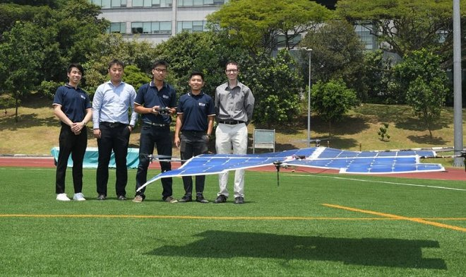 The Singapore quadcopter on solar batteries is capable to soar for hours in a row