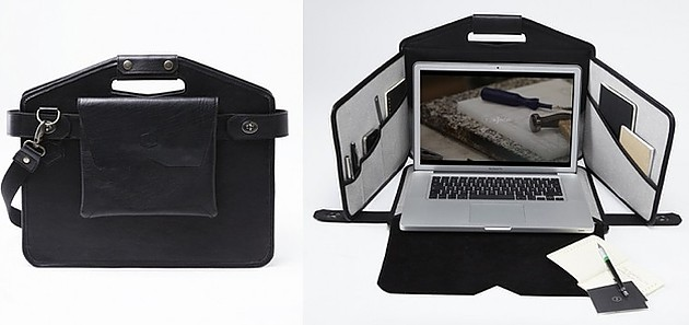 The bag for the laptop which is easily transformed v  a tiny office
