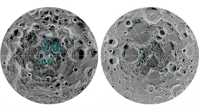 Scientists were finally convinced v  existence of water on the Moon